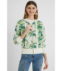 tropical hooded sweatshirt jacket - green - xl