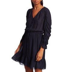 fletcher ruched three-quarter sleeve ruffle dress
