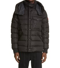 men's moncler born to protect project gaite water resistant down puffer coat, size 5 - black
