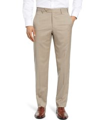 men's zanella devon flat front classic fit solid wool serge dress pants, size 32unhemmed - beige