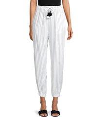 heroes & dreamers women's striped tassel-drawstring joggers - white black - size l