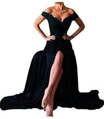 lemai plus size off shoulder v neck front slit long lace prom evening dress dark