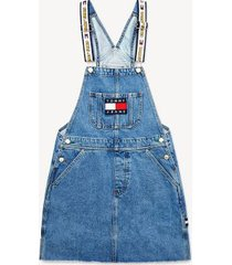tommy hilfiger women's tommy jeans x looney tunes overall dress light blue denim - m
