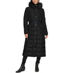 calvin klein belted faux-fur-trim hooded maxi puffer coat