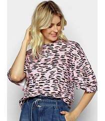 camiseta colcci oversized estampada feminina - feminino