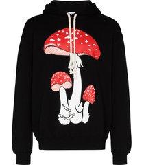jw anderson mushroom print hoodie - black
