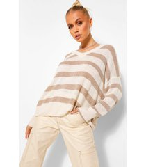 basic stripe v neck sweater, stone