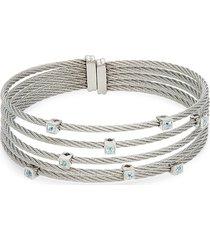 alor women's 14k white gold & silvertone blue topaz cuff bracelet