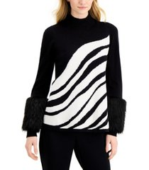 alfani faux-fur-cuff printed sweater, created for macy's
