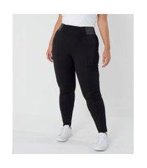 calça legging com elástico na lateral curve & plus size   ashua curve e plus size   preto   eg