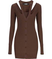 andrea adamo knit mini dress with cut-out