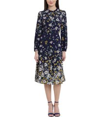 maggy london floral ruffle neck long sleeve midi dress, size 12 in navy/sunlight yellow at nordstrom
