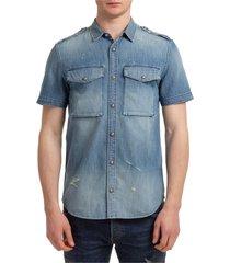 camicia uomo maniche corte in denim jeans
