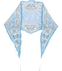 acne studios narrow diamond-shaped bandana scarf - blue
