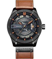 reloj curren 8301 hombres lujo casual cuero negro marron
