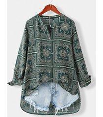 tribal modello camicetta con colletto in piedi da donna a maniche lunghe con bottoni