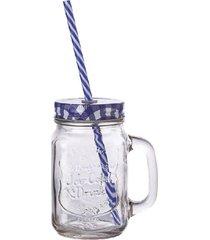 caneca pote hauskraft com canudo 410 ml azul