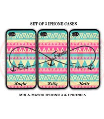 personalized mint pink blue aztec bff best friends iphone case -3 iphone 5 cases