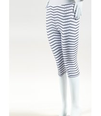 alaia white & blue knit striped cropped pants blue/white sz: s