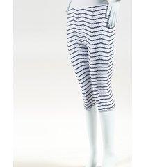 alaia white & blue knit striped cropped pants