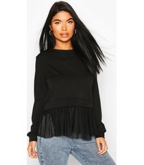 petite peplum mesh hem sweat top, black