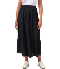 vince camuto tiered midi skirt, size x-small in rich black at nordstrom