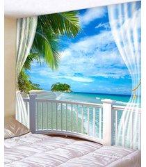 window beach island print tapestry wall hanging art decoration