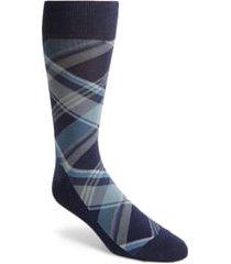 men's cole haan plaid socks, size one size - blue