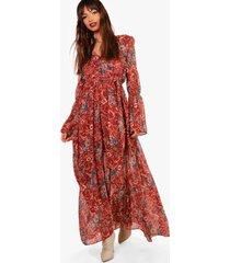 gabriella bohemian maxi jurk met strik, roest