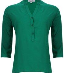 blusa unicolor color verde, talla xs