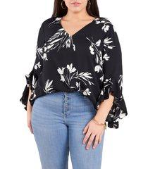 plus size women's vince camuto floral tunic top, size 1x - black
