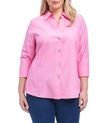 plus size women's foxcroft paityn non-iron cotton shirt, size 16w - pink