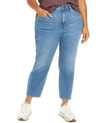 plus size women's madewell the curvy perfect vintage crop jean, size 16w - blue