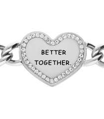 bracciale a maglie larghe in acciaio better together con strass per donna