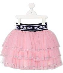 balmain kids tiered tulle skirt - pink