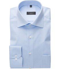 eterna lichtblauw overhemd effen met borstzak