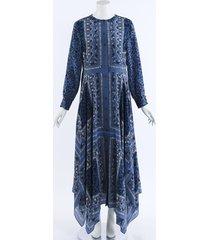 altuzarra tamourine crepe de chine maxi dress blue sz: m