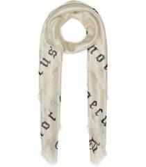 'amore caecus' slogan print gg lamé scarf