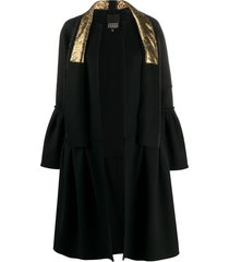 gianfranco ferré pre-owned ruffled details knee-length coat - black
