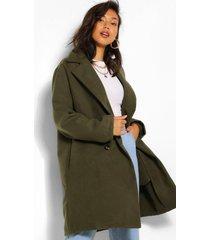 double breasted wool look coat, khaki
