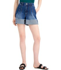 inc international concepts high rise pleated cuffed jean shorts, created for macy's