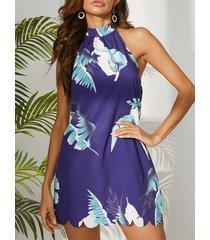 yoins azul marino sin espalda diseño tropical sin mangas vestido