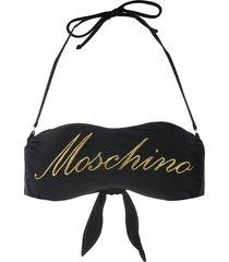 moschino logo-embroidered bandeau bikini top - black