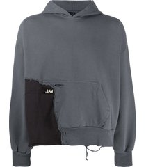 val kristopher eroded logo patchwork hoodie - grey