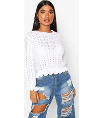petite textured frill hem knitted sweater, white