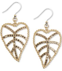 lucky brand gold-tone delicate pave open leaf drop earrings