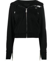 philipp plein fringe detail hoodie - black