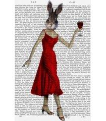 "fab funky rabbit in red dress canvas art - 15.5"" x 21"""