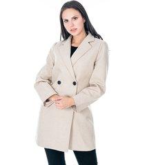 abrigo para dama beige con bolsillos y dos botones frontales