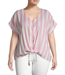 bobeau women's plus striped & knotted top - light pink - size 2x (18-20)